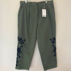 Zara Woman New Chino Oriental Embroidered Pants